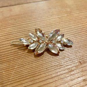 Handmade Women Rhinestone Hairpin Crystal Vintage Wooden